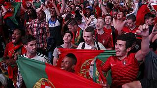Portugal fans celebrate in Paris after EURO final