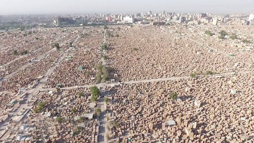 Stunning drone footage of the world's biggest cemetery in Iraq
