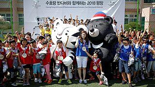 Primera aparición en público de las mascotas de los Juegos de Pyeongchang 2018