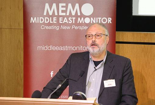 Image: Saudi dissident Jamal Khashoggi speaks at an event hosted by Middle
