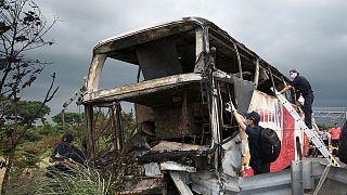 Two dozen Chinese tourists killed in Taiwan coach crash