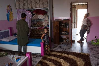 Sisters and nieces of Abu-Shareb get ready for prayer time in her mother\'s house in Esder, Israel, on Aug. 9, 2018.