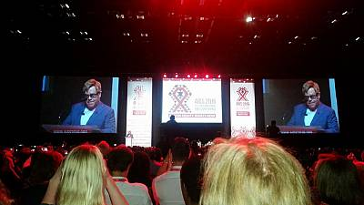 Elton John & Bill Gates attend AIDS conference in Durban