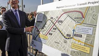 """Image: Mayor Eric Garcetti looks at the proposed """"Regional Connector Transi"""