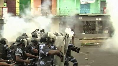 Gabon police charge at protesters