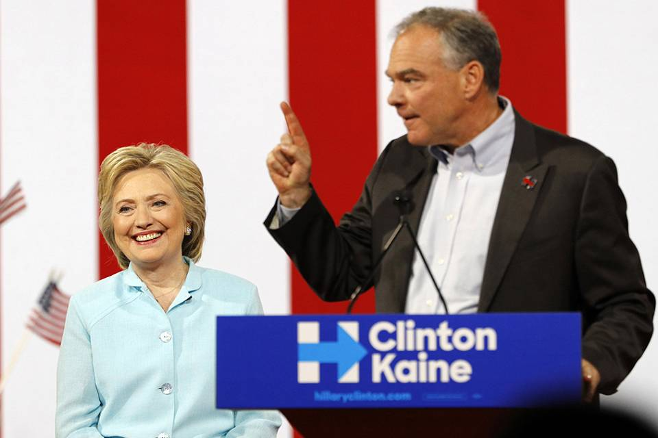 'America was not built on fear' - Clinton's running mate makes his debut