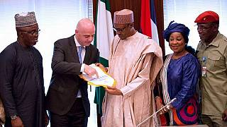 Buhari hits anti-corruption note as he meets FIFA boss in Abuja