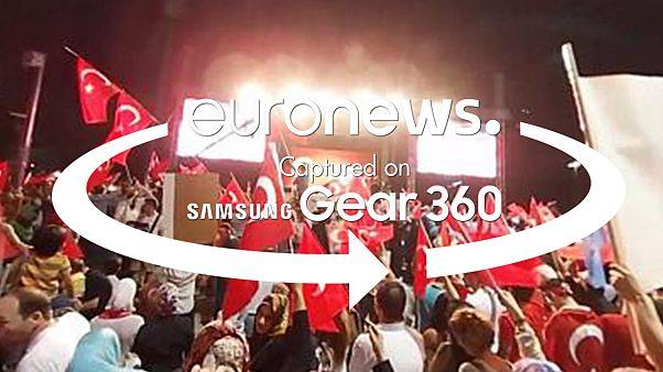 Türkiye'de darbe girişimi protestosu 360 derece videoda