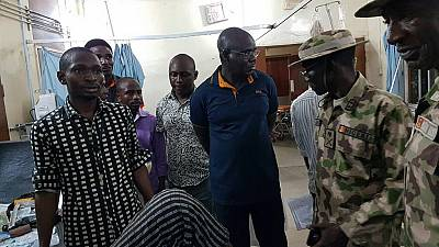 [Photos] Nigeria army chief visits soldiers and humanitarian staff attacked in Borno