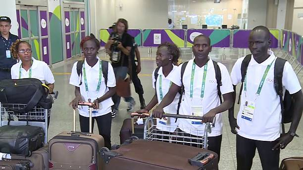 IOC refugee team members arrive in Rio