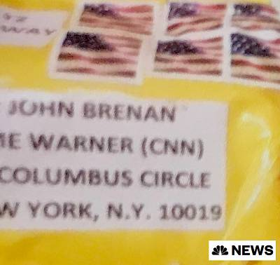 The envelope that contained a possible device sent to CNN. Former CIA Director John Brennan\'s name is misspelled.