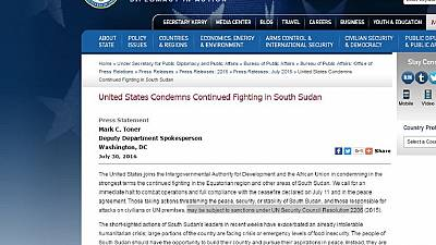 U.S. Department of State reacts to South Sudan crisis