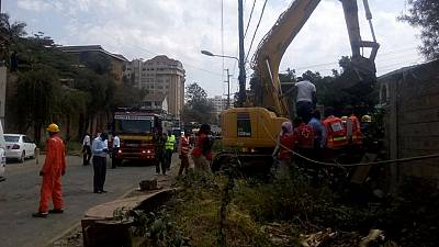 [Photos] Kenya wall collapses, three feared trapped