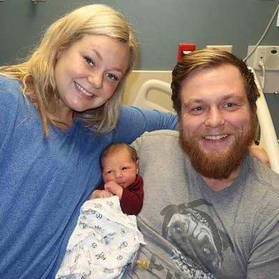 Ashley and Andrew Goette beamed at the birth of their son, Lennon, just days after she saved his life when he went into cardiac arrest.