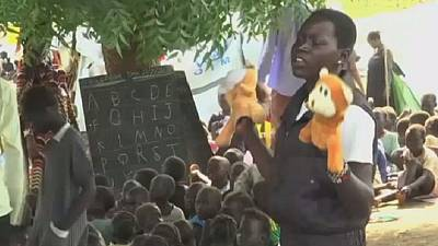 Displaced South Sudanese children learn under undesirable conditions