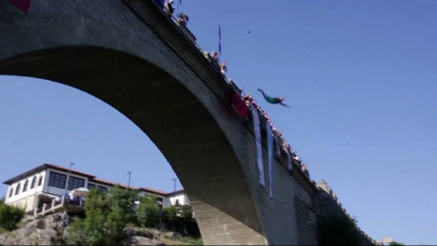 High-diving competition in Kosovo