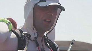 Blind athlete runs desert marathon using smartphone app