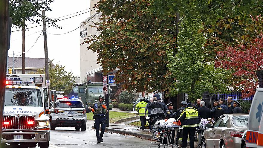 Image: First responders surround the Tree of Life Synagogue in Pittsburgh,