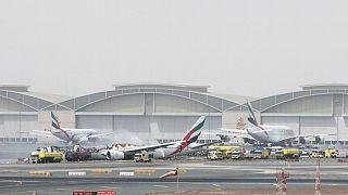 Dubai Havalimanı pistinde yangın paniği