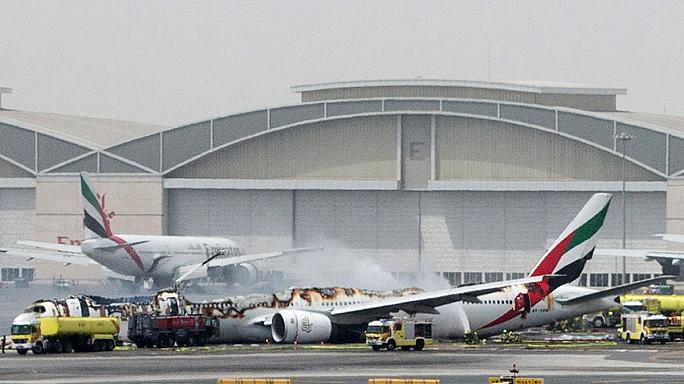 Passengers dramatic escape as plane bursts into flames at Dubai airport