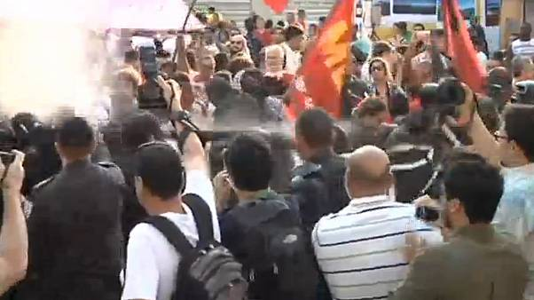 Anti-torch protest in Rio before Olympic Games begin