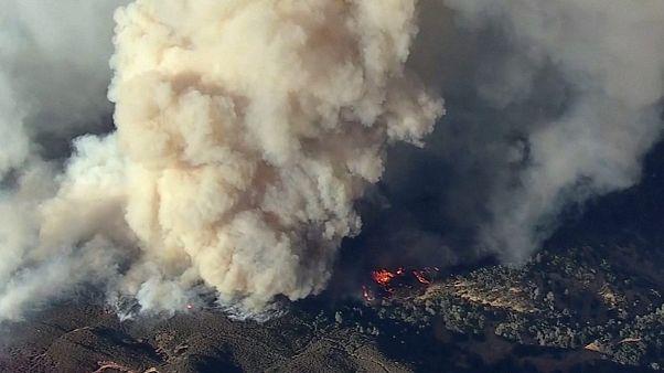 تلاش آتش نشانان برای اطفاء حریق در شمال ایالت کالیفرنیا