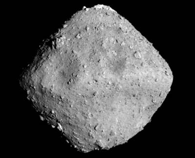 The Japanese Hayabusa 2 probe captured this image of the Ryugu asteroid.