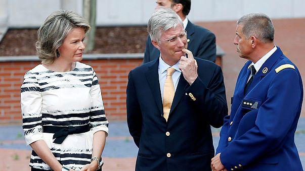 Belgium's King Philippe and Queen Mathilde visit Charleroi attack site