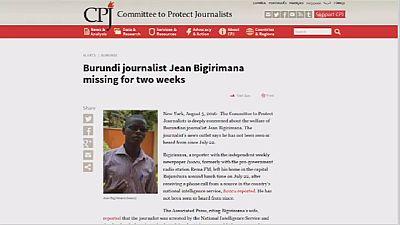 Burundi : journaliste porté disparu