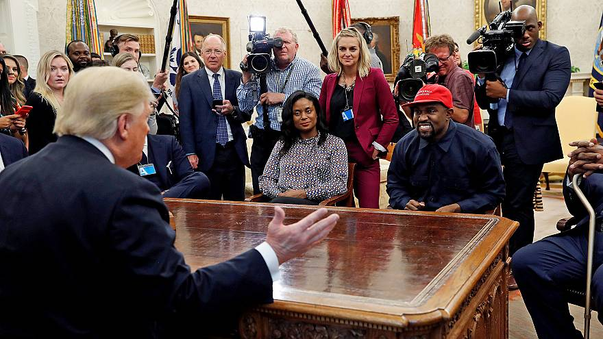 Image: President Trump speaks during a meeting with rapper Kanye West and o