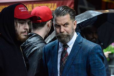 Activist Gavin McInnes, from right, takes part in an Alt Right protest of Muslim activist Linda Sarsour in New York on April 25, 2017.