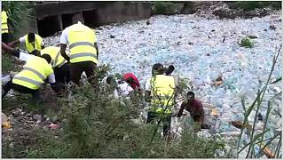 Cameroon fights flooding, turning plastic waste into jobs and construction slabs