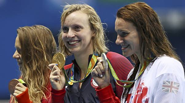 Ledecky wins 800-metre freestyle for rare Olympic swimming treble