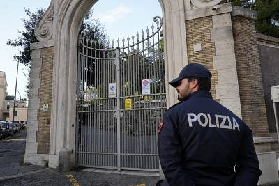 Police guard the Apostolic Nunciature, the Vatican\'s Embassy to Italy, where bones were found.