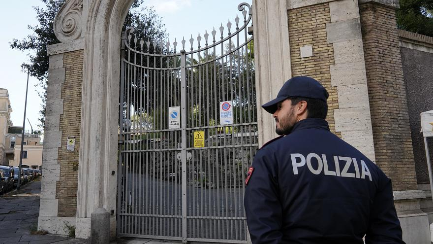 Image: Police guard the Apostolic Nunciature, the Vatican's embassy to Ital