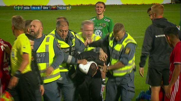 Masked intruder attacks Swedish goalkeeper during top flight game