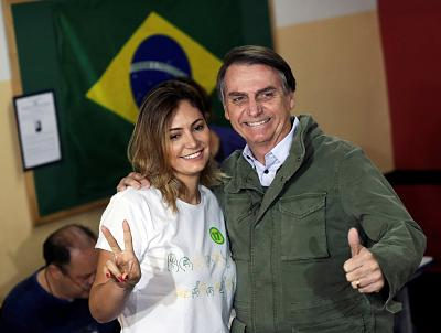 Bolsonaro and his wife Michelle voted together in Sunday\'s election.