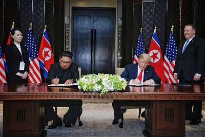 President Donald Trump and Kim Jong-un at their historic Singapore summit in June.