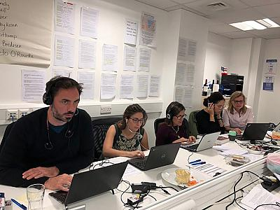 Mike DePinto makes calls at the Democrats Abroad campaign headquarters in London.