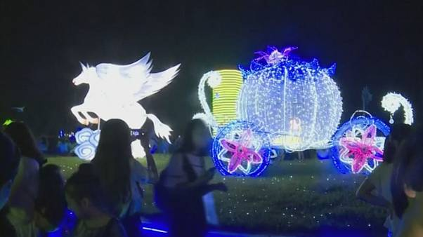 China: The light shows in the World Landscape Art Exposition Garden in Jinzhou City