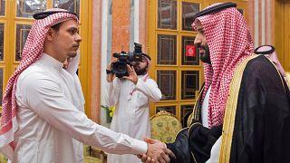 Image: Saudi Crown Prince Mohammed bin Salman meeting with Khashoggi's son