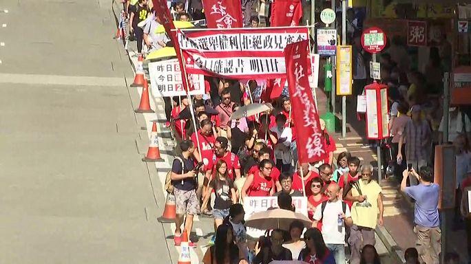 Függetlenség-párti képviselőkért tüntettek Hongkongban