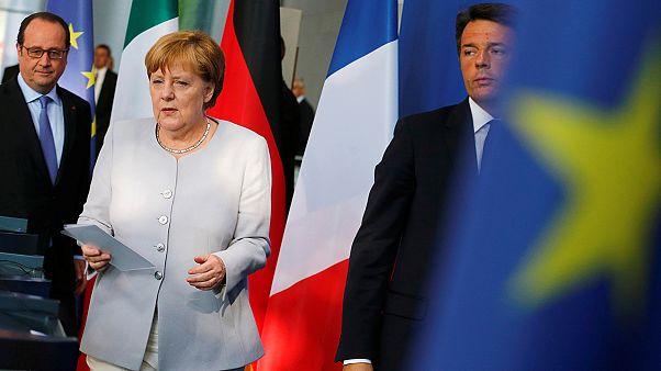 Merkel, Hollande and Renzi celebrate Europe in mini-summit after Brexit blow