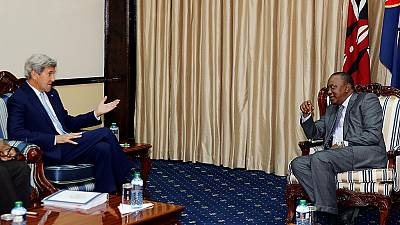 U.S. Secretary of State John Kerry meets with Kenyan political leaders