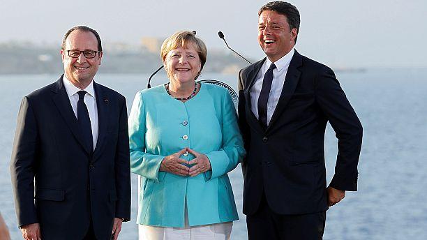 Treffen im Mittelmeer: Merkel, Renzi und Hollande wollen eine stärkere EU