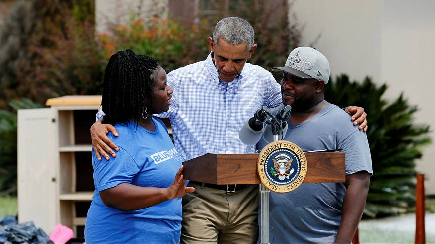 Obama visits Louisiana flood victims