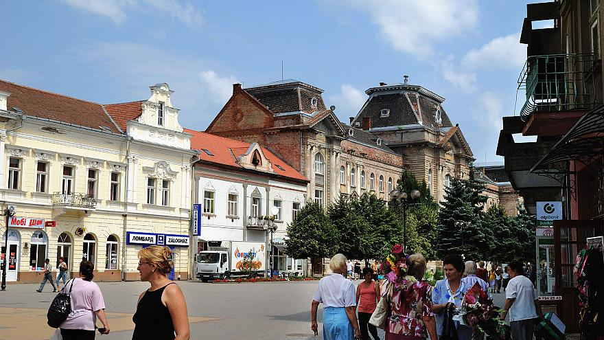 Image: A street scene in Berehove, Ukraine