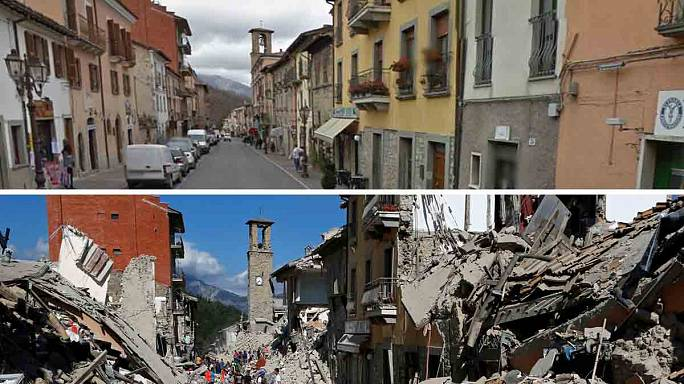 Sismo em Itália: O antes e o depois