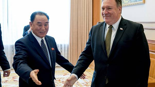 Image: Secretary of State Pompeo and Kim Yong Chol arrive for a lunch at th