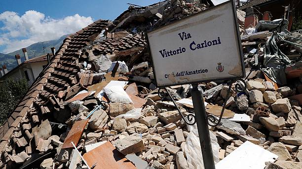 Accumoli, inside the town near the quake's epicentre